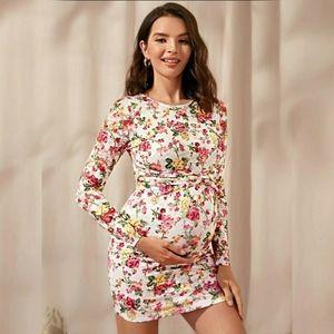 Maternity Twist Detail Floral Lace Bodycon Dress M